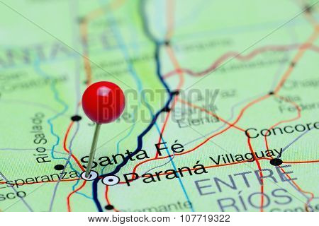 Santa Fe pinned on a map of Argentina