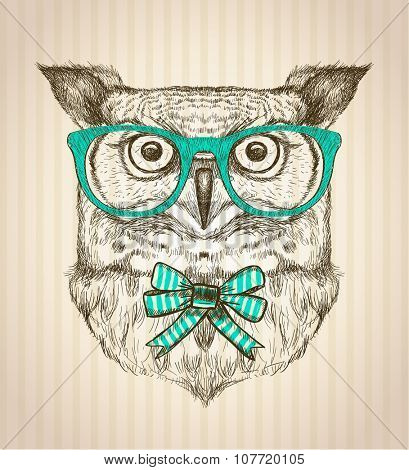 Cute card with hand drawn hipster owl dressed in green glasses and bow.
