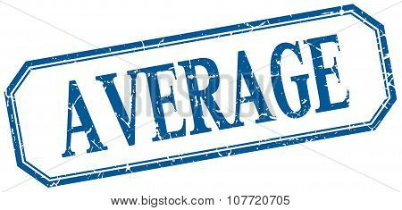 Average Square Blue Grunge Vintage Isolated Label
