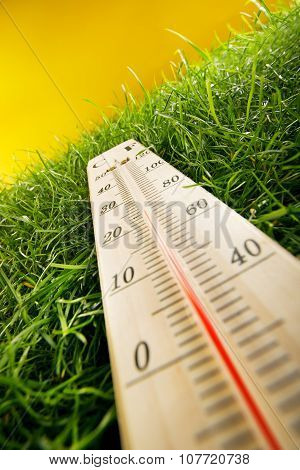 Thermometer And Fresh Grass On Yellow Background