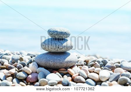stack with stones on sea beach. zen-like