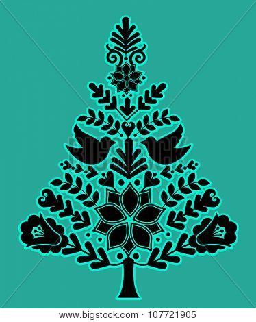 Nordic christmas tree separate elements grouped