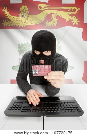 Hacker With Canadian Province Flag On Background Holding Id Card In Hand - Prince Edward Island