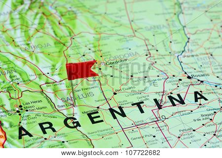 San Luis pinned on a map of Argentina
