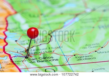 San Carlos de Bariloche pinned on a map of Argentina