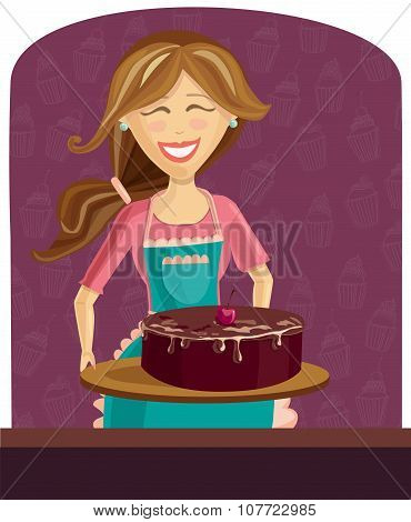 Vector Illustration Of Baking Woman With Cake