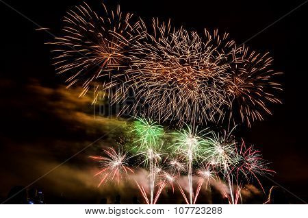 Colorful Fireworks Over Night Sky