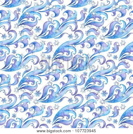 Seamless winter watercolor pattern with snowflakes and frosting