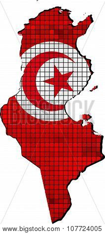 Tunisia Map With Flag Inside.eps