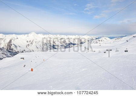 View Down A Snowy Ski Piste