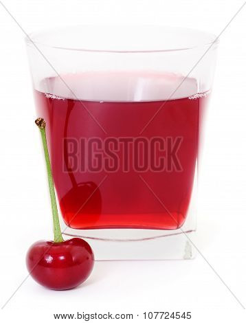 Cherries And A Glass Of Cherry Juice