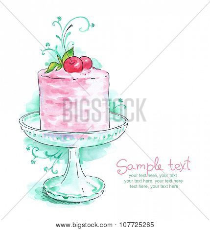 cream cake with cherries on glass cake stand