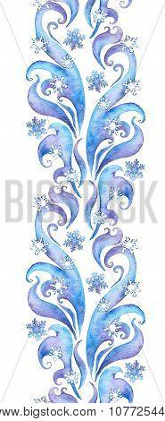 Repeating winter border frame, watercolor ornamental stripe