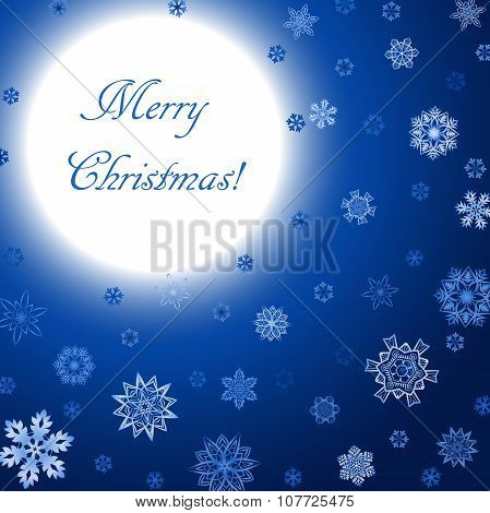 Christmas blue square background with moon and snowflakes
