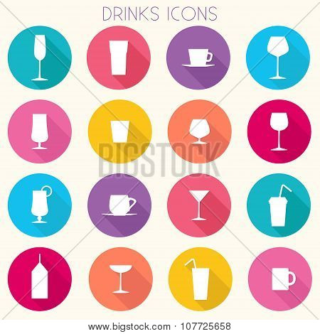Colorful Drinks Icons - vector