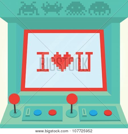 I love you arcade machine isolated vector