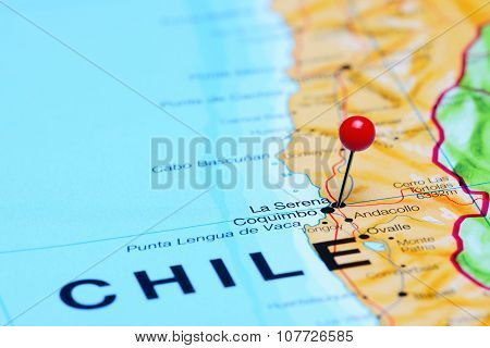 La Serena pinned on a map of Chile