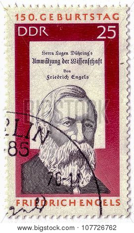 Gdr - Circa 1970: A Stamp Printed In Gdr Shows Friedrich Engels, Circa 1970