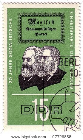 German Democratic Republic - Circa 1966: A Stamp Printed In Germany Shows The 20 Years Socialist Uni