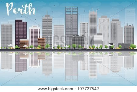 Perth skyline with grey buildings, blue sky and reflection. Business travel and tourism concept with place for text. Image for presentation, banner, placard and web site.