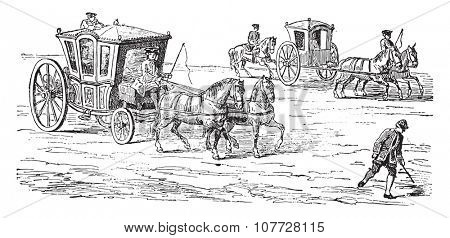 Carriage above a runner (eighteenth century), vintage engraved illustration. Industrial encyclopedia E.-O. Lami - 1875.