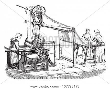 Machine to print the tarot, vintage engraved illustration. Industrial encyclopedia E.-O. Lami - 1875.