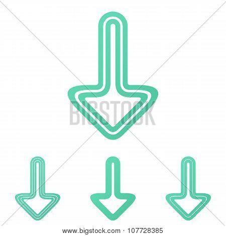 Line down arrow logo design set