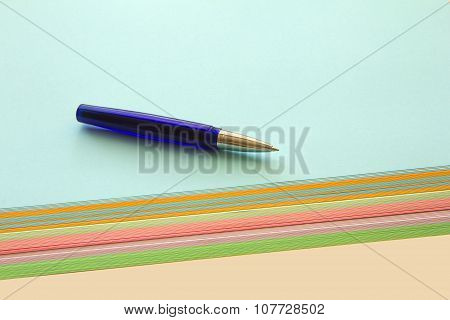 Ballpoint  And Colored Papers