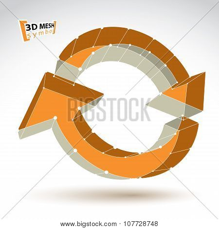 3D Mesh Update Sign Isolated On White Background, Lattice Colorful Reuse Icon, Yellow Dimensional Te