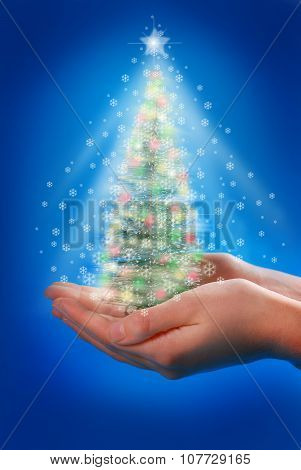 Magic Christmas Tree In Hands