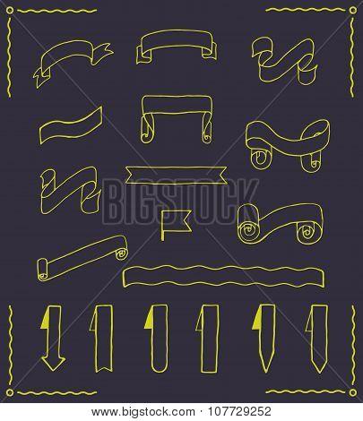 Set of vector ribbons and tags