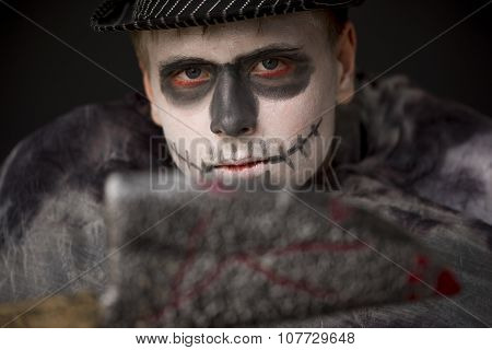 Young Man In Ghoulish Halloween Makeup