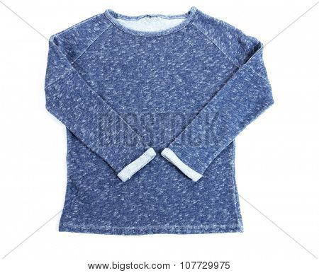 Blue short pullover isolated on white background