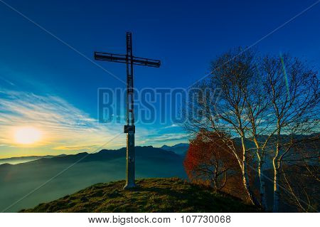 Summit Of A Mountain With Cross