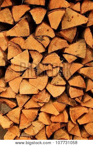 Chopped firewood logs for winter fire