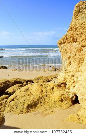 Spectacular rock formations in Praia Da Gale on the Algarve coast