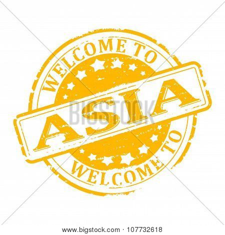 Damage To Yellow Stamp With The Words - Welcome To Asia - Illustration