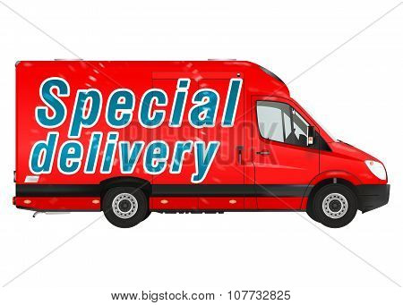 Delivery. Red Courier Van
