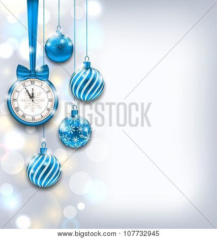 New Year Shiny Background with Clock and Glass Balls