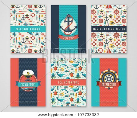 Set of Nautical and Marine Banners and Flyers.