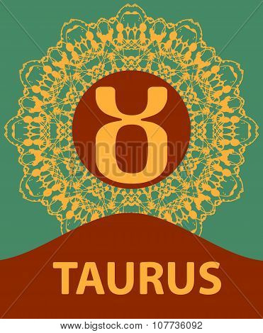 Taurus. Zodiac icon with mandala print. Vector illustration.
