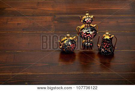 Tree Toys As Tea Kit On The Wooden Table