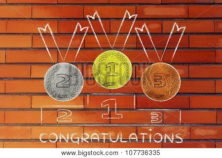 Gold, Silver And Bronze Medals With Text Congratulations
