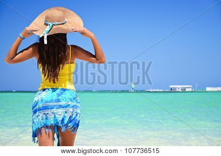 Beautiful Woman Enjoying Her Vacantion On The Tropical Beach
