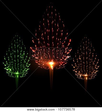 Festive firework three different color shape pine