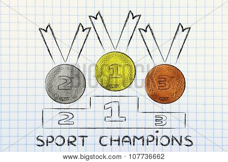 Gold, Silver And Bronze Medals With Text Sport Champions