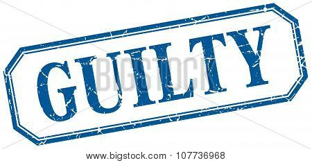 Guilty Square Blue Grunge Vintage Isolated Label