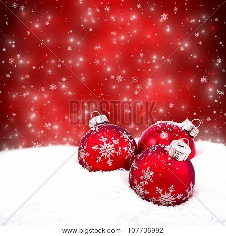 Beautiful Christmas Balls On The Red Background