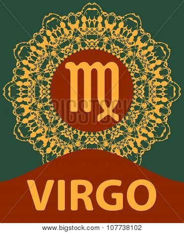 Virgo. Virgin. Zodiac icon with mandala print. Vector illustration.