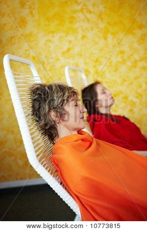 Sleeping Women In Relaxation Room